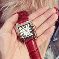 Hot sell women genuine leather band big dial wristwatch Female square watches women Original fashion casual watch relojes