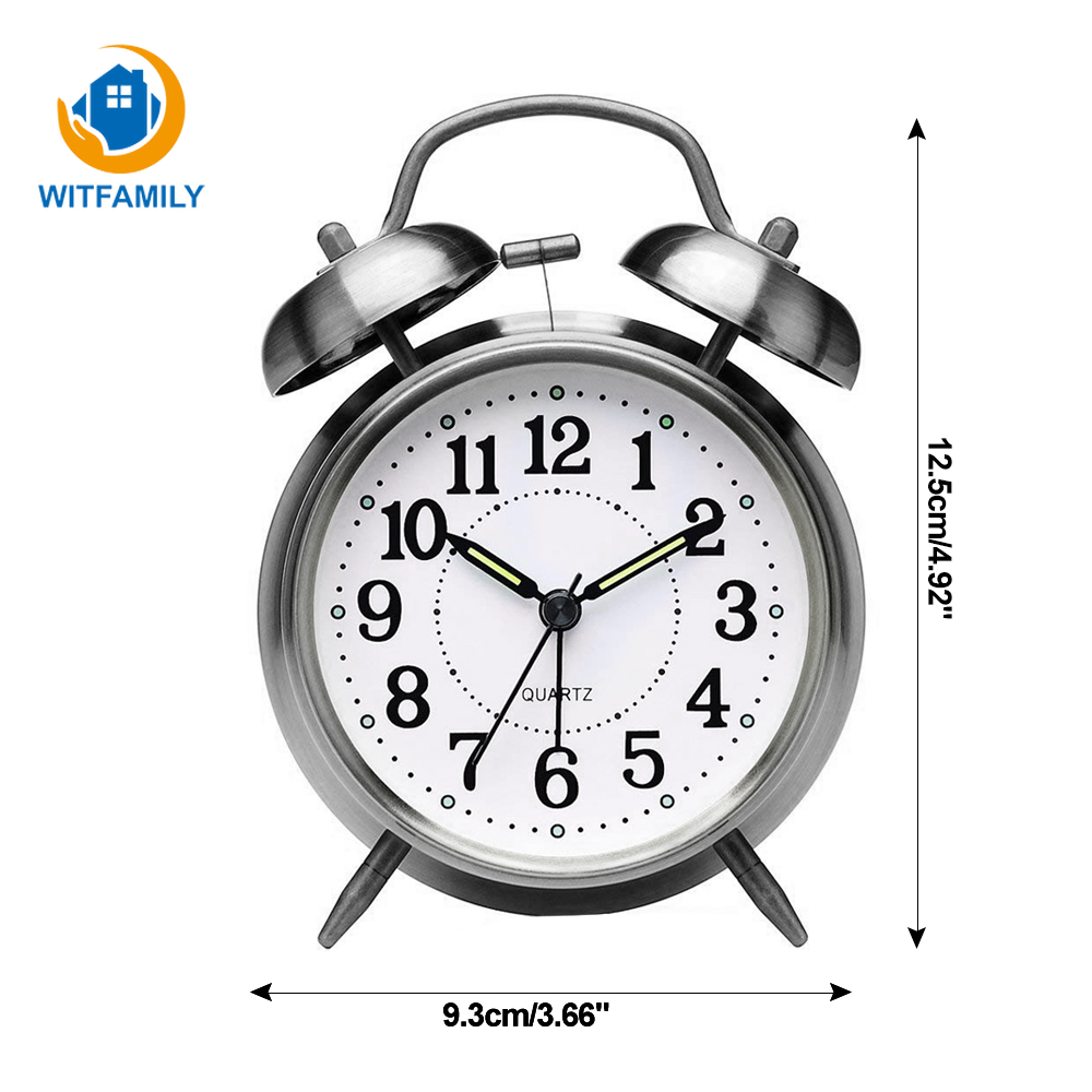 Creative Retro Round Alarm Clock Double Strap Alarm Clock With Stereo Dial Backlight Table Loud Alarm Clock Gift Snooze Function
