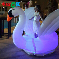 1.8 High Inflatable Swan with LED Light Display for Weddings Parties Stages