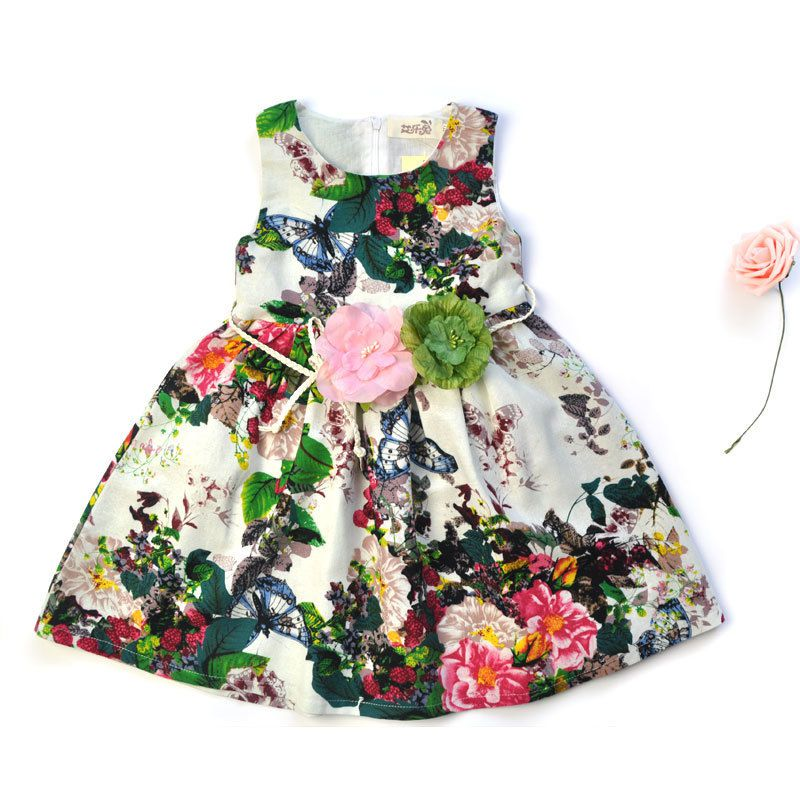 Kids Clothing Summer Dresses For Girls Girl Dress Floral Print Cotton Birthday Party Sundress Baby Children Clothes  summer baby girls party vest dress linen cotton ruffle tutu dress for girl kids 1st birthday princess dresses children clothing