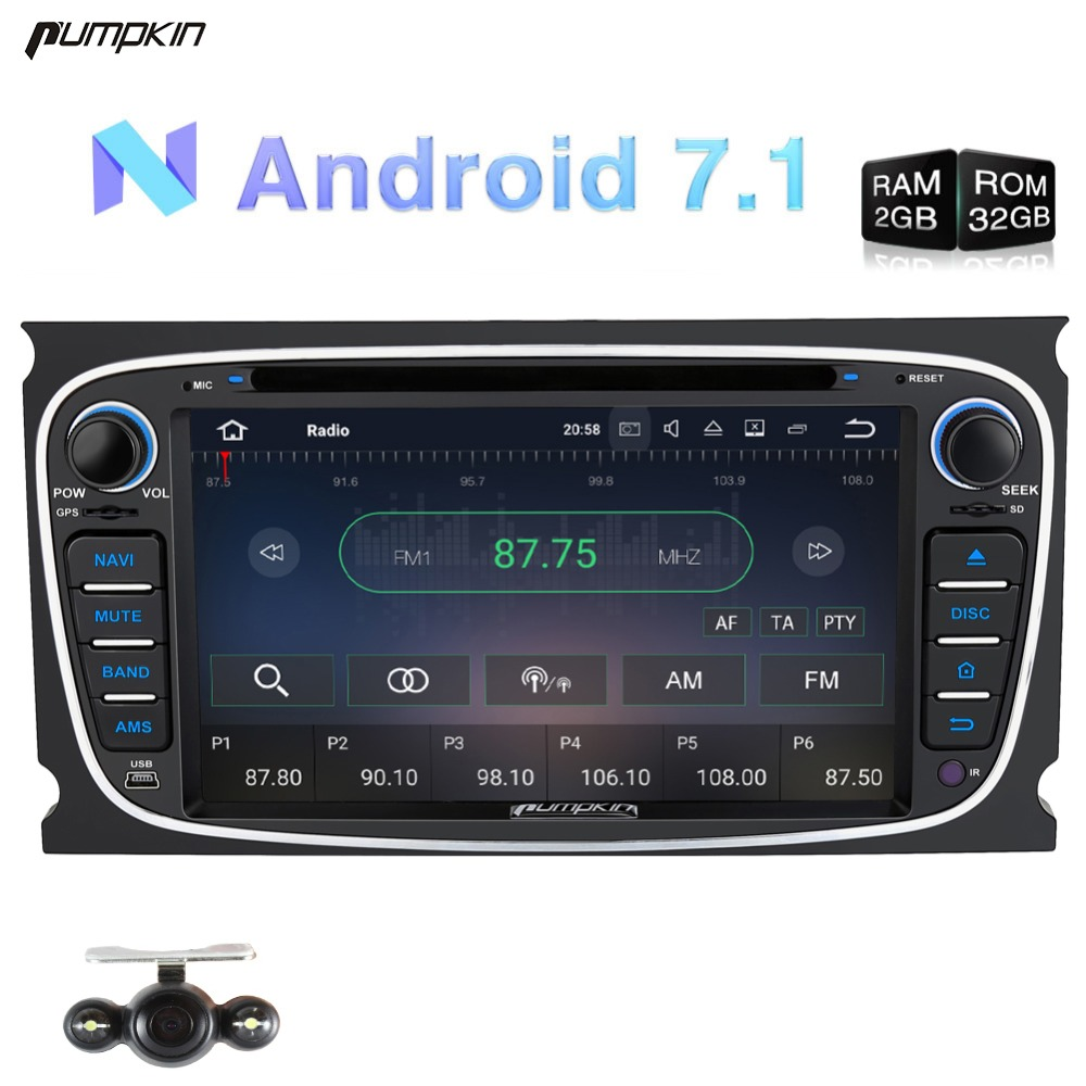 Capacitive Screen! 2 Din 7 Android 7.1 Car DVD Player For Ford Mondeo/Focus GPS Navigation Car Stereo FM Rds Radio 3G Headunit