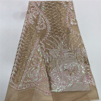 African Lace Fabric 2019 High Quality Lace Sequins Fabric French Nigerian Lace Fabric Embroidery for Wedding dress Lace bh2-31