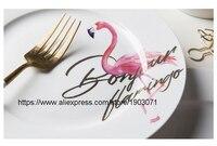 Flamingo Creative Procelain Plates Tableware Dessert Cake 8 Inch Bone China Dishes Steak Pastry Wedding Decoration Free Shipping