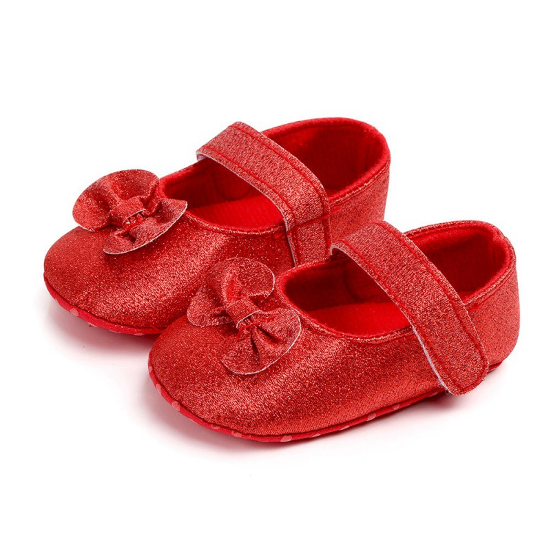 Baby Girls Shoes Princess Non-slip PU Crib Shoes Bow Baby Girls First Walkers Newborn Girl Shoes For Party