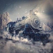 Trem Expresso Polar montanha de neve modelo da estrada de ferro parede backdrops Vinil Fundo pano de Alta qualidade de impressão Computador