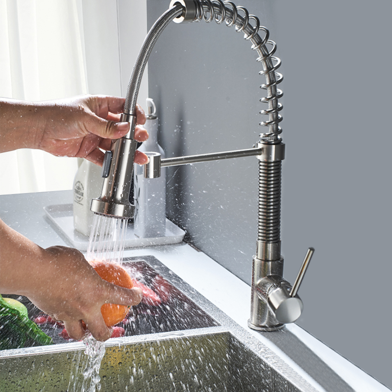 Brushed Nickel Spring Kitchen Sink Faucet Sprayer Stream Spout Pull Down Kitchen Mixers Deck Mounted Hot and Cold Water Tap good quality brushed nickel kitchen faucet deck mounted hot and cold water pull out sstream sprayer spout kitchen mixer tap