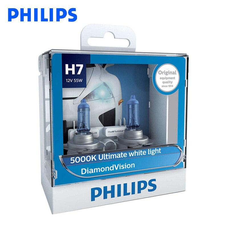 Original Philips H7 12V 55W PX26d Diamond Vision 5000K bombillas halógenas súper blancas faro Auto 12972DV S2, par