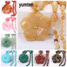 Yumten Topaz Necklace Flower shape Pendant Women Accessories Rainbow Reiki Jewelry Natural StoneChoker Fashion Charm Accessories цена 2017