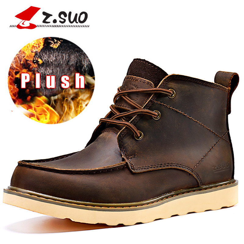 Z.Suo 2017 Handmade Genuine Leather Men Winter Boots With Fur Snow Shoes Men Rubber Cow Leather Men's Boots Big Size 45 сабвуфер автомобильный mystery mbb 20a