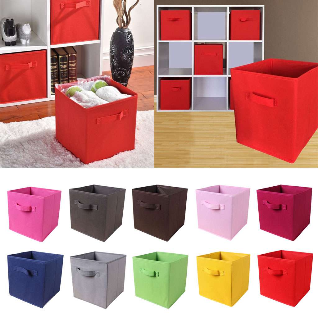 Foldable Cube Storage Bin Sundries Organizer Basket Fabric Drawer Cubby Organizer Container Box