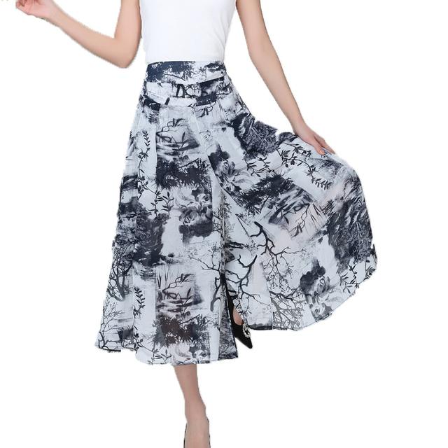 Novas mulheres de verão Chiffon plus size calças bezerro-comprimento Calças wide-leg pantalon femme