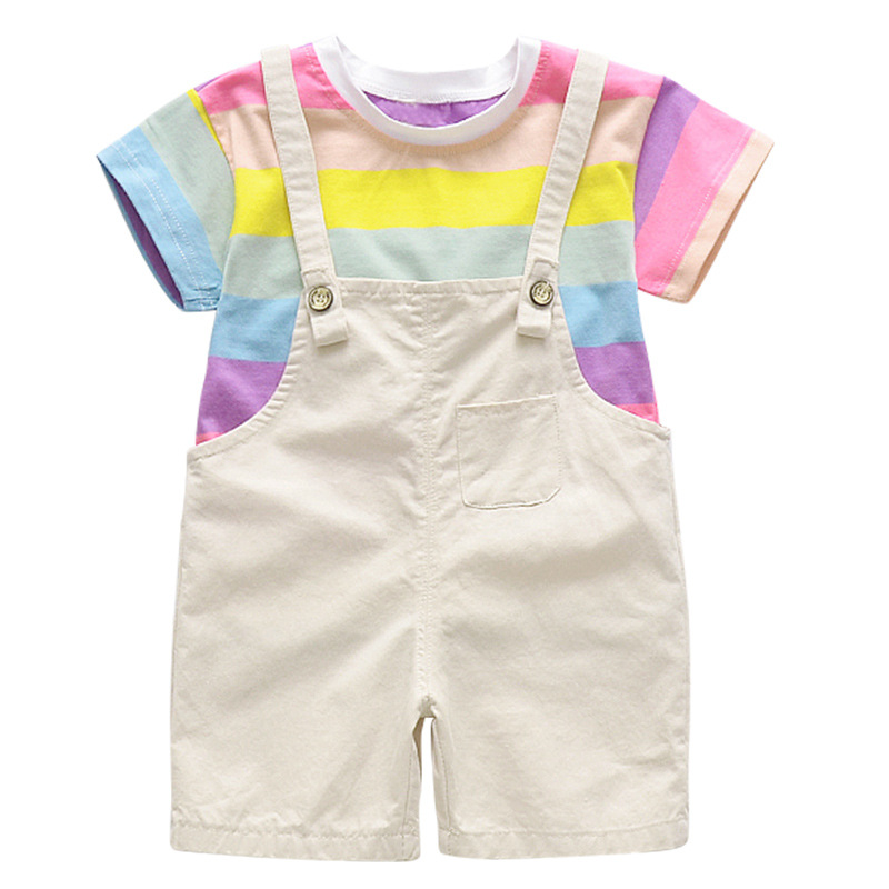 2019 Kids Costume Baby Girl Shorts Set Summer New Korean Middle And Small Children Rainbow T-shirt + Wings Bib(China)