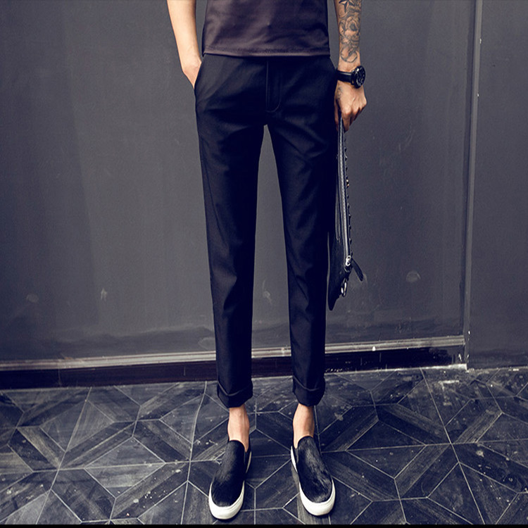 New 2019 Summer Men Black Casual City Street Hip Hop Student Teenager Pencil Pants Men Ankle Length Pants Slim Fit trousers in Skinny Pants from Men 39 s Clothing