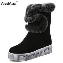 Aicciaizzi Для женщин Пояса из натуральной кожи толстые Мех животных Внутри холодной зимние ботинки Для женщин на толстой платформе низкие сапоги на плоской подошве размер 34–39
