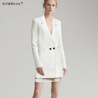 Модные женские юбочные костюмы двубортный зубчатый белый пиджак куртки и тонкий Мини юбки Двойка ПР Комплекты Женские наряды