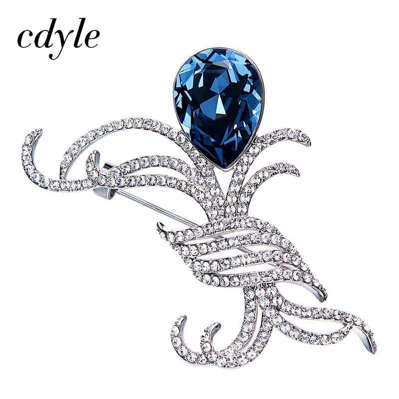 Cdyle Crystals from Swarovski Brooches Women Austrian Rhinestone Fashion  Jewelry Elegant Chic Blue Vintage Retro Irrgular Bijous 929ab8a09fba