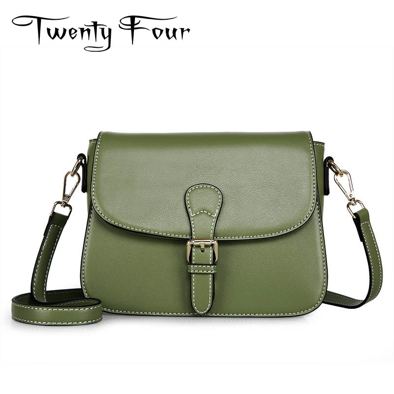 Twenty-four Genuine Leather Female Small Cross Body Bags Vintage Style With Solid Cover Flap Hard Bags For Ladies Shoulder Bags twenty four women brand flap bags natural genuine leather handbags with chain solid color cover small bags young cross body bags