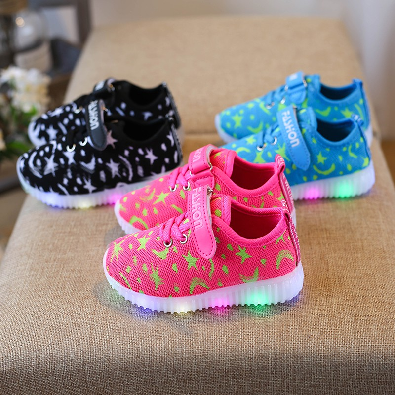 LED Baby Shoes First Walkers Shoes Baby Boy Shoes Fashion LED Baby Girl Shoes Sports Casual Cotton LED Prewalker