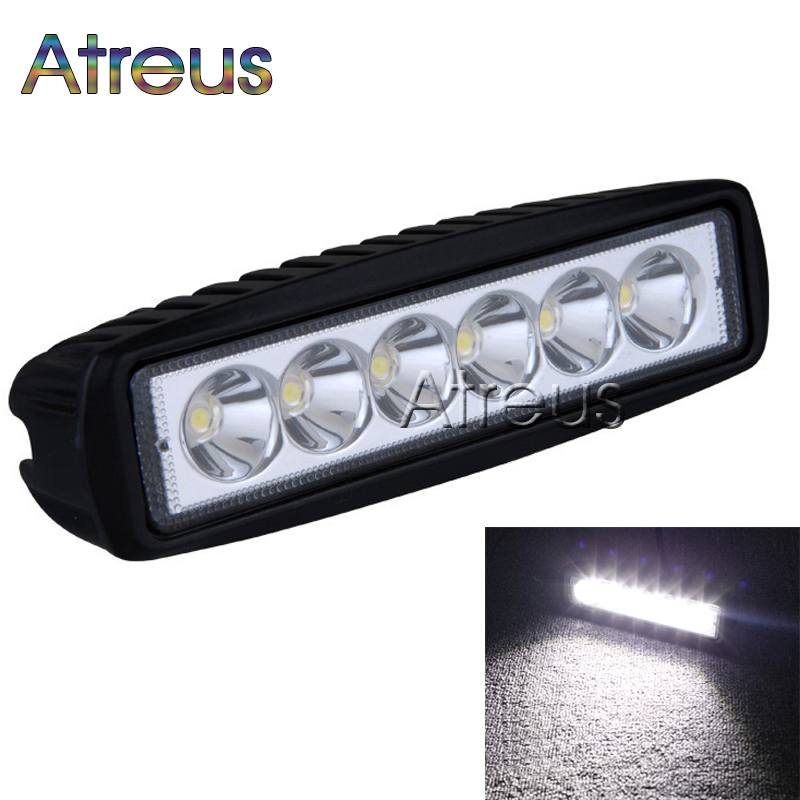Atreus 6Inch 18W 6x3W Car LED Work Light Bar 12V Spot Flood Waterproof For Offroad Boat Tractor Truck 4x4 ATV car accessories