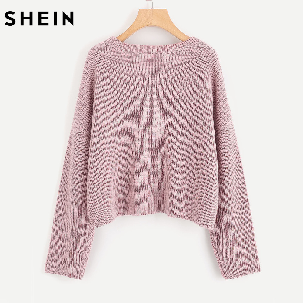 SHEIN Drop Shoulder Pearl Beading Cute Loose Sweater Autumn Women ...