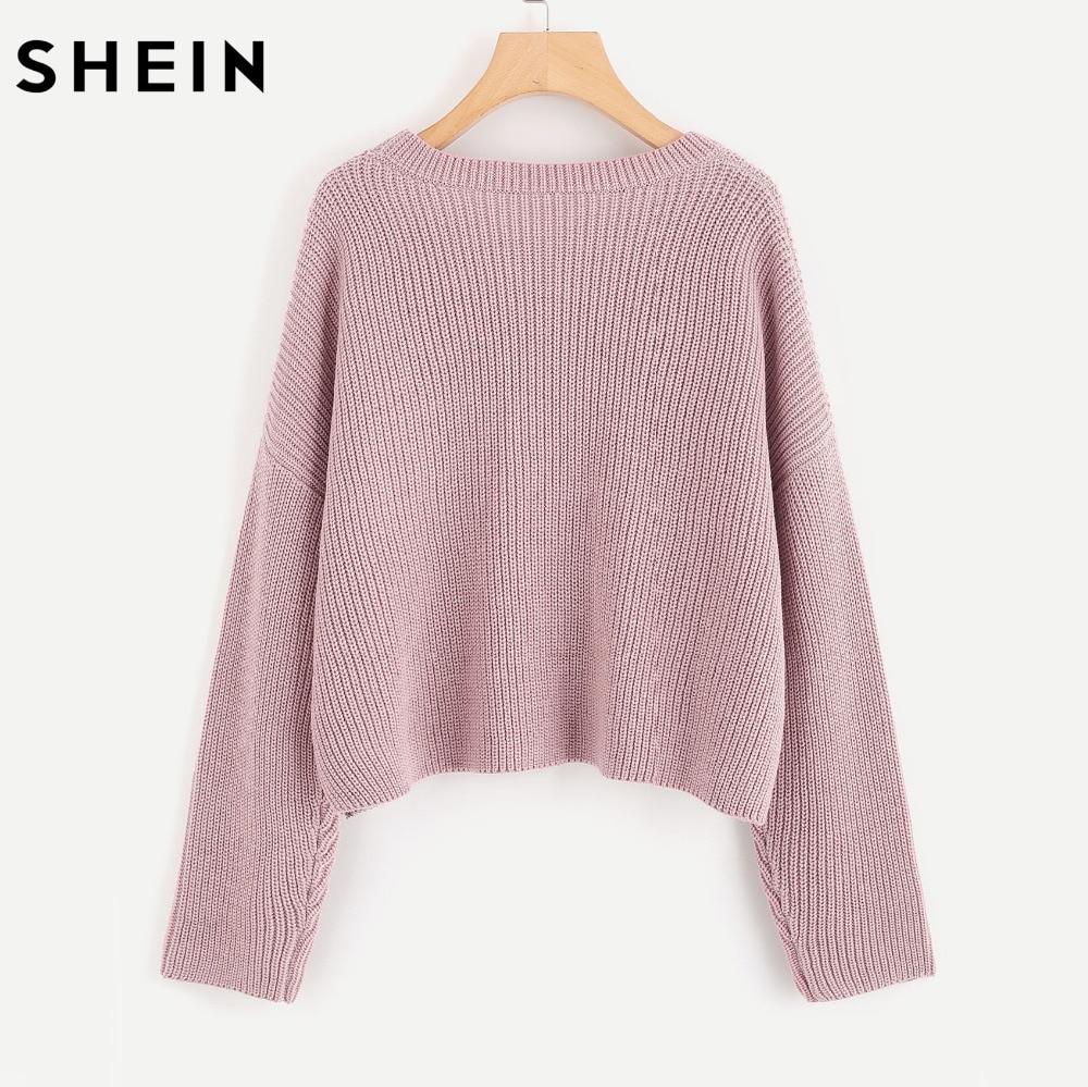 SHEIN Drop Shoulder Pearl Beading Cute Loose Sweater Autumn Women ...