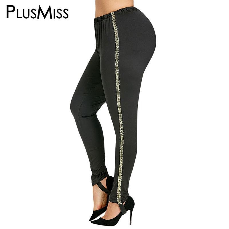 PlusMiss Plus Size 5XL Black Side Sequin Leggings Women Clothes Big Size Sexy High Waist Skinny Legging Ladies 2018 Pants Femme