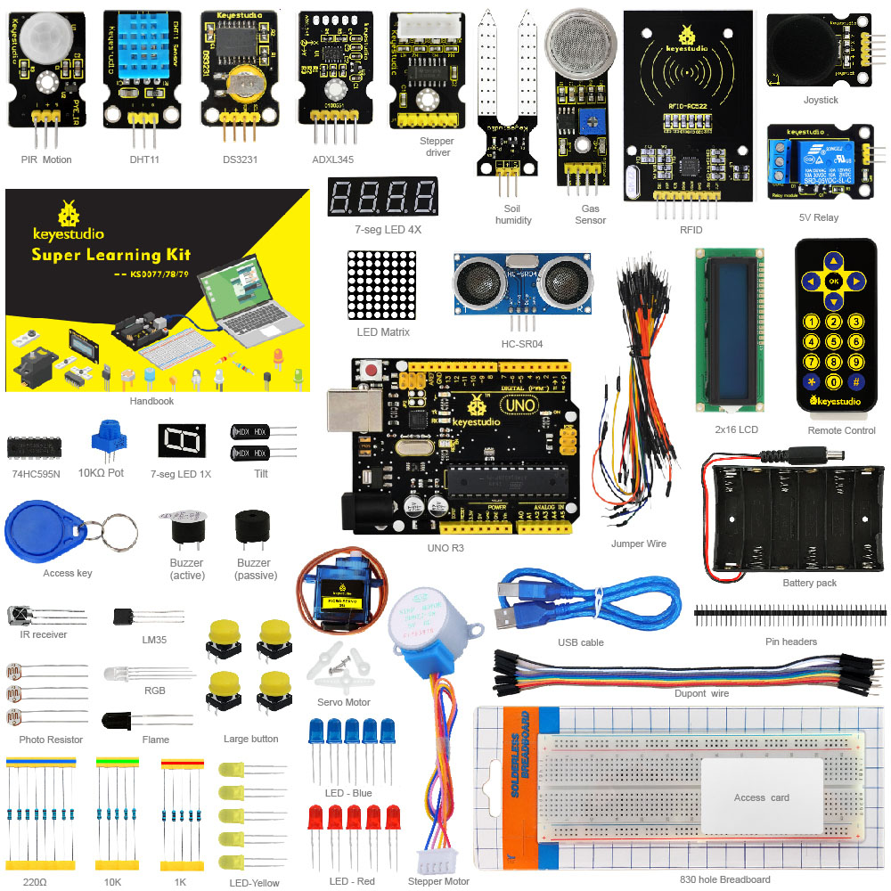 Nuevo embalaje! Keyestudio Super Starter Kit/kit de aprendizaje (uno R3) para Arduino Starter Kit con 32 proyectos + manual del usuario + RFID 1602