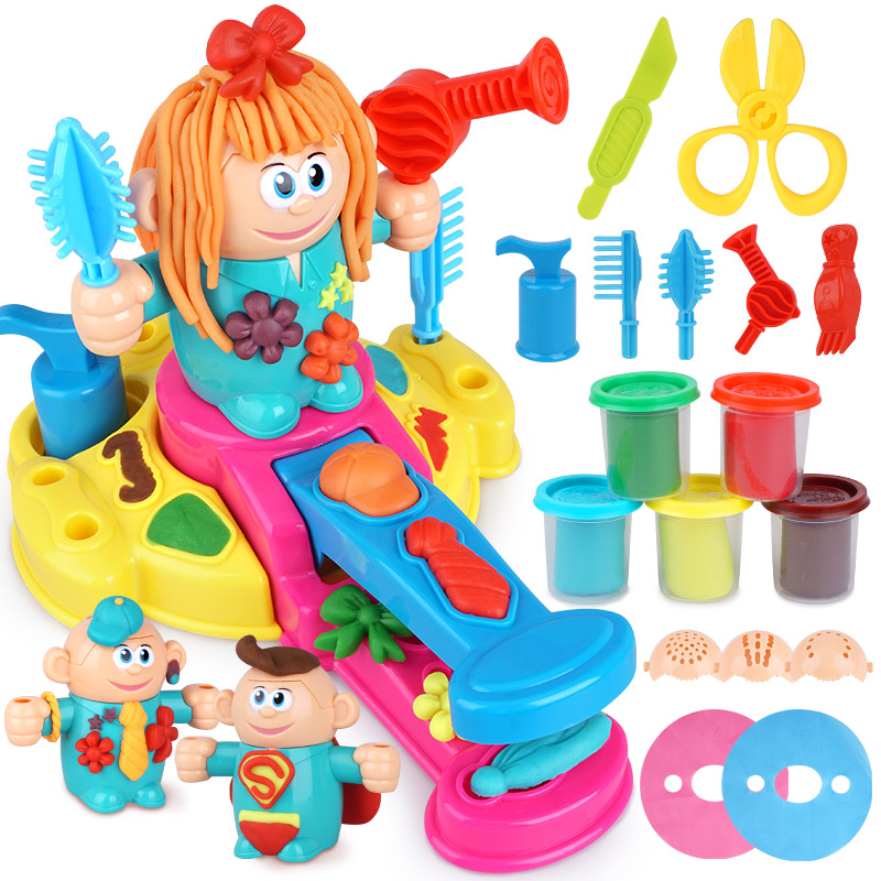 Hot DIY Environmental Clay Hand Plasticine Mold Color Clay Barber Set Children Toy Popular Toys Super Light Clay Model
