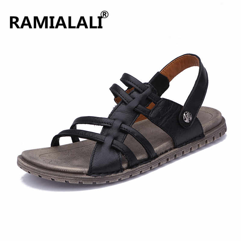98c42edf4 Mens Sandals Leather New Beach Men Casual Shoes Outdoor Summer Sandals  Fashion Shoes Men Size 38