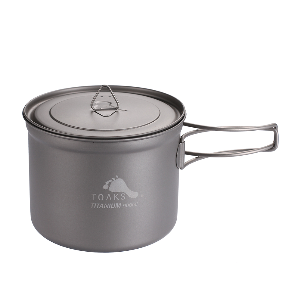 TOAKS Outdoor Camping Titanium Cup 900ml Ultralight Titanium Pot with cover and Folded handle POT 900