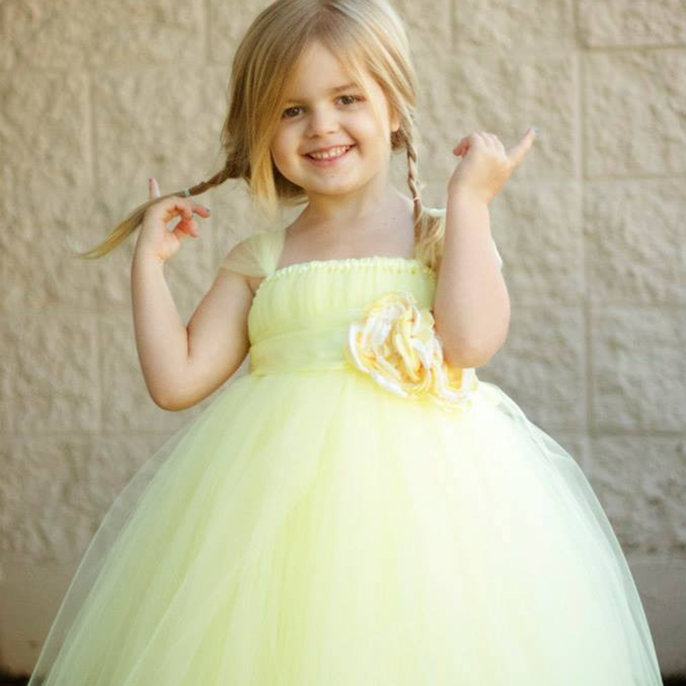 Gorgeous Little Girls Party Dress Tulle Cap Sleeves Light Yellow