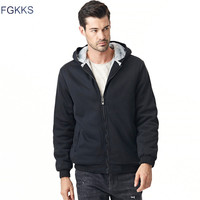FGKKS Men S Hooded Casual Brand Hoodies Clothing Wool Liner Mens Winter Thickened Warm Coat Male