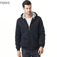 FGKKS Men S Hooded Casual Brand Hoodies Clothing Wool Liner Mens Winter Thickened Warm Coat Male