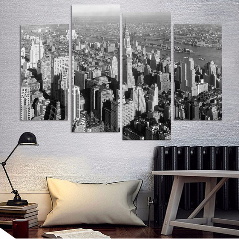 4 Pieces Black And White New York City Modern Home Wall