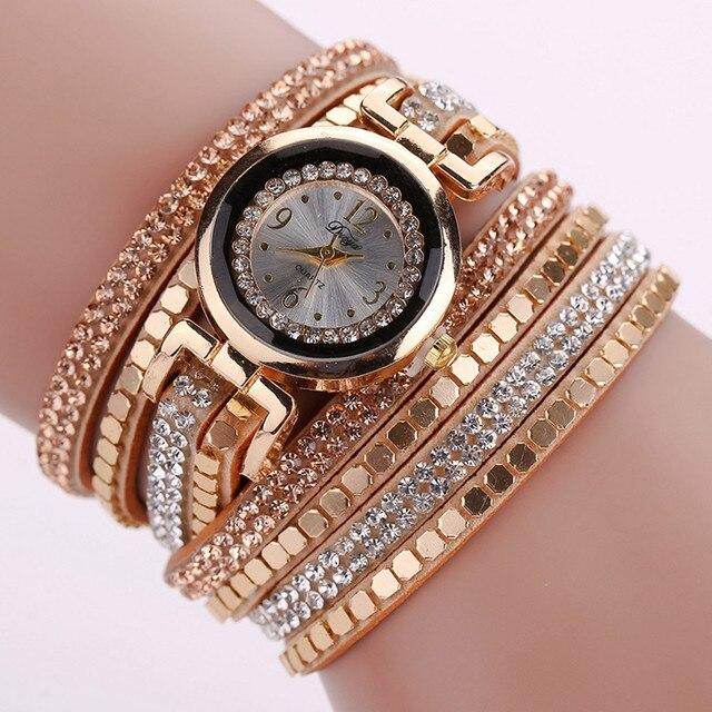 Duoya Girl Watch Gold Chic Leather Blocks Decorated Diamond Watches Women Bracelet Ladies Wrist Watch 2016 Bayan kol saati Feida