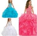 Princesa vestido de Baile vestido de Festa Da Menina Da Representação Histórica Vestidos de Festa Longo Vestidos de Noiva de Tule Menina Flor Beading Vestidos De Aniversário Da Menina