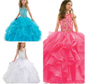 Princess Ball Gown Party dress Girl's Pageant Dresses Long Party Wedding Dresses Girl Tulle Beading Flower Girl Birthday Dresses