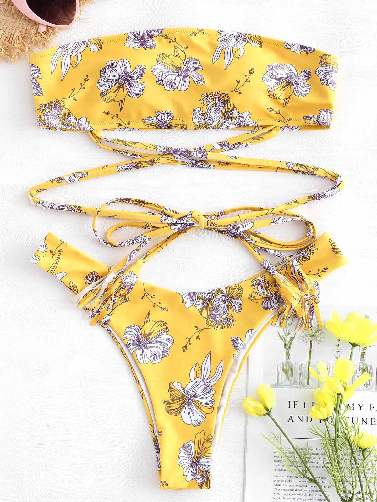 ZAFUL krawat ramię słonecznika dziurki od klucza Bikini 2019 stroje kąpielowe kobiety Bikini wysoko wycięte Spaghetti pasek usztywniony kostium kąpielowy lato stroje kąpielowe