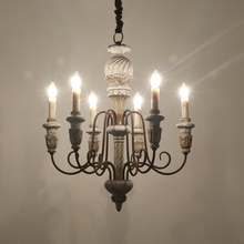 Vintage Wooden Chandeliers Lighting For Living Room Dining Room Bedroom Kitchen Lustre Wrought Iron Chandelier Retro Home Decor vintage american chandeliers living room light fixtures copper wrought iron white fabric lampshade chandelier lustre 110 240v