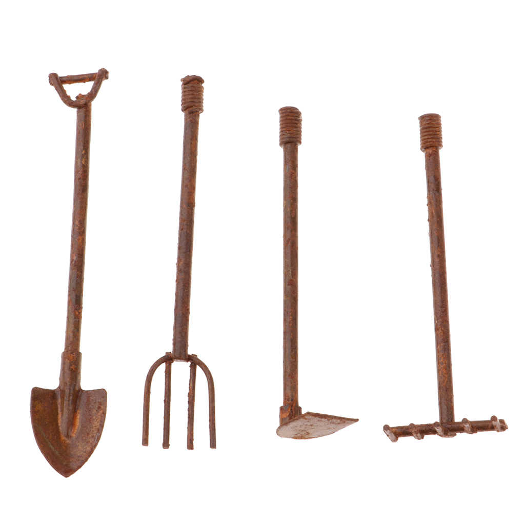 4 Pieces Dollhouse Miniature 1:12 Gardening Tools Metal Shovels and Pitchfork Furniture Set