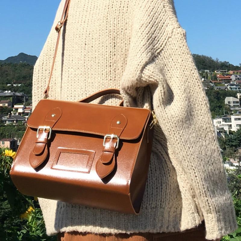 Fashion New Oil Pu Leather Women Messenger Bag Handbag Vintage Female Shoulder Retro Girl Student Satchel Teenager Crossbody Bag