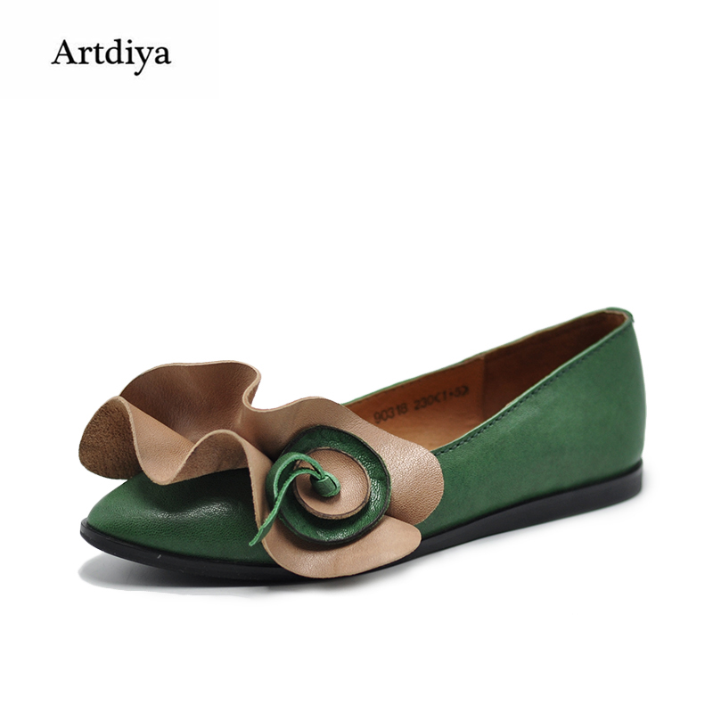 Artdiya Original Vintage Female Flowers Shallow Mouth Women Shoes Pointed Toe Soft Handmade Genuine Leather Shoes 90318