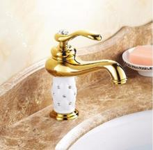 Livraison Gratuite or salle de bains bassin robinet, en laiton avec Diamant/cristal corps du robinet Nouvelle De Luxe Évier Robinet d'eau chaude et froide du robinet