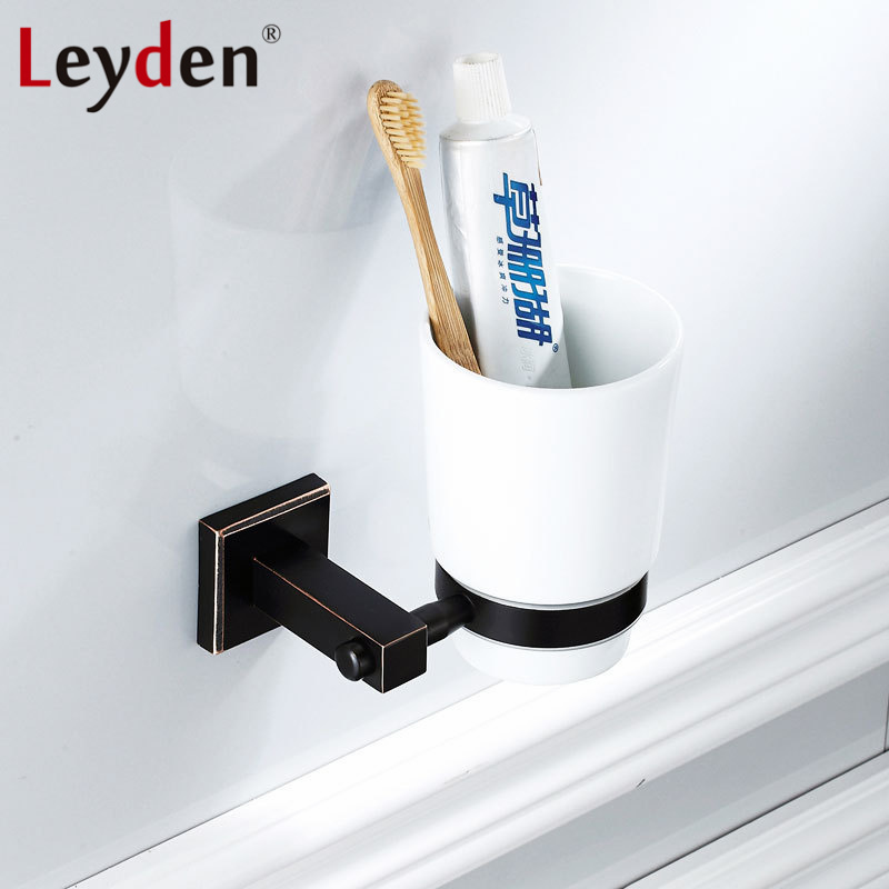 Leyden New Brass Oil Rubbed Bronze Single Toothbrush Tumbler Holder Wall Mounted Toothbrush Holder with Cup Bathroom Accessories