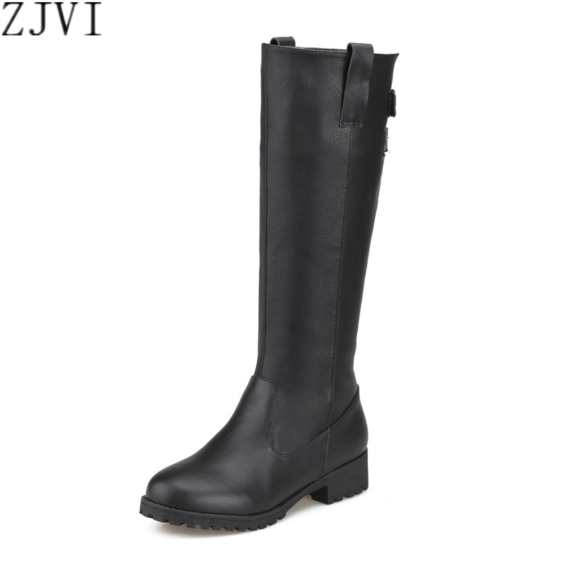 ФОТО ZJVI Russia sexy ladies fashion buckle winter woman boot genuine leather women black shoes female thigh high knee high boots