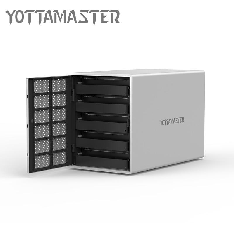 все цены на Yottamaster HDD Case 5 bay Type-C HDD Docking Station Aluminum USB3.1 to SATA HDD Enclosure Box Support RAID 50 TB for Laptop PC онлайн