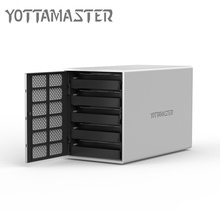 Yottamaster HDD Case 5 bay Type-C HDD Docking Station Aluminum USB3.1 to SATA HDD Enclosure Box Support RAID 50 TB for Laptop PC