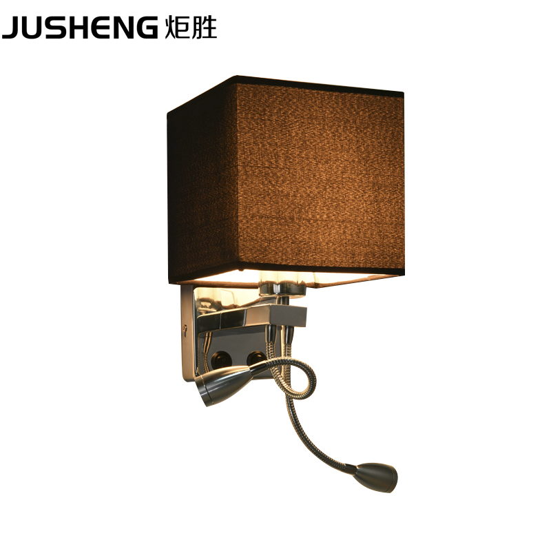 JUSHENG modern style bedroom wall lamp European style living room lights led American hotel room bedside double head wall lamp