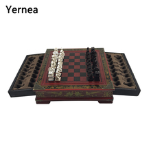 Yernea Retro Chess Set Board Games Resin Chess Terracotta Warriors Lifelike Pieces High-density Board Paste 26*26*6.5 cm Gift wholesale cheap new chinese retro chess set terracotta warriors classic large size chess 29 16 9 5cm