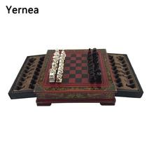 цены Yernea Retro Chess Set Board Games Resin Chess Terracotta Warriors Lifelike Pieces High-density Board Paste 26*26*6.5 cm Gift